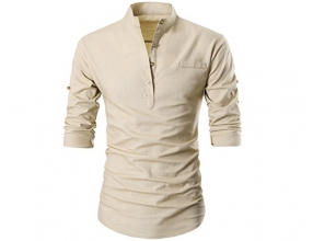 GARSEBO Beloved Men Button Slim Henley Neck Long Sleeve Casual Linen Shirts