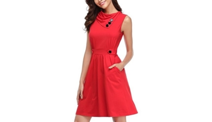 Huhot Sleeveless Cowl Neck Summer Casual Flared Midi Tank Dress
