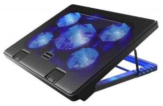 Laptop Cooling Pad With 5 Fans, LED Lights And Adjustable Mounts