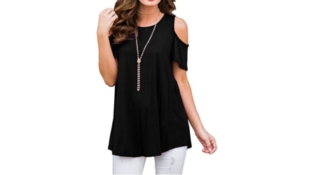 PrinStory Women's Cold Shoulder Shorts Sleeve Top