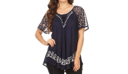 Sakkas Ash Speckled Tiedye Embroidered Cap Sleeve Blouse