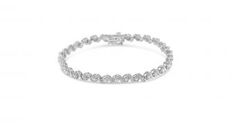 Sterling Silver Rose-cut Diamond Spiral Link Bracelet
