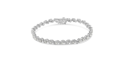Sterling Silver Rose-cut Diamond Spiral Link Bracelet