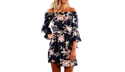 Svaliy Women Off Shoulder Ruffles Floral Tunic Short Dress