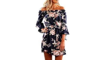 Svaliy Women Off Shoulder Ruffles Floral Tunic Short Dress