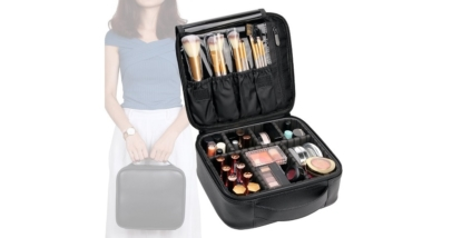 Vasker Waterproof Leather Travel Makeup Bag