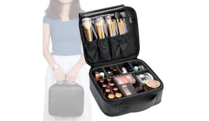 Vasker Waterproof Leather Travel Makeup Bag