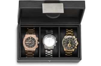 Men's Luxury Watch Box Travel Case With 3 Compartments