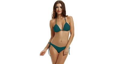 Zeraca Women's Tie Side Bottom Triangle Bikini Swimsuit