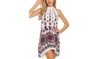 BLUETIME Women's Casual Sleeveless Halter Neck Boho Print Short Sundress