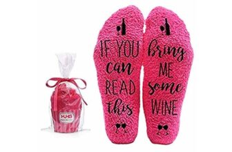 Bring Me Wine Fuzzy Pink Socks