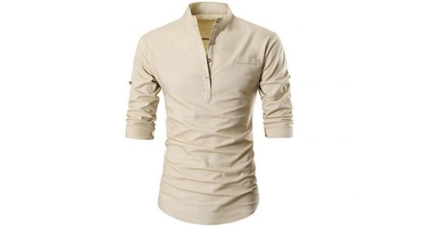 Garsebo Men Button Slim Henley Neck Long Sleeve Casual Linen Shirt
