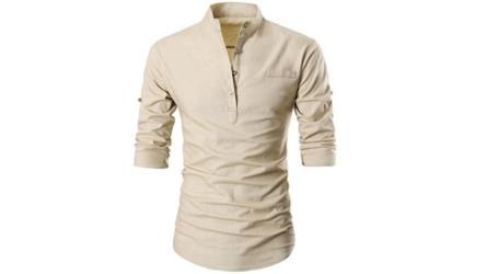 Garsebo Men Button Slim Henley Neck Long Sleeve Casual Linen Shirt