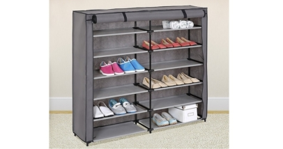 Grey 7-Tier Shoe Storage Cabinet Organizer with Fabric Cover