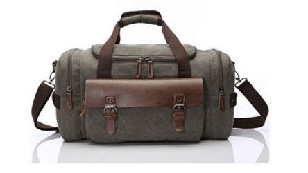 Travel Duffel Canvas and Leather Overnight and Weekender Bag