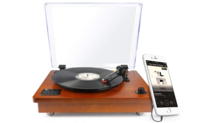 Wooden Turntable with Vinyl-To-MP3 Recording