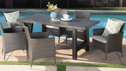 7 Piece Wicker Set with Light Weight Concrete Dining Table